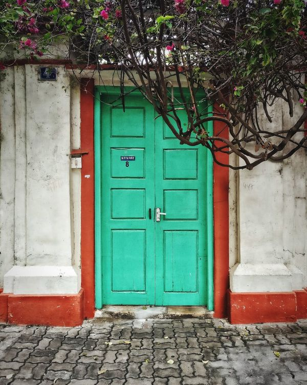 Location: Pondicherry, India Architecture Door Closed Outdoors No People Built Structure Seagreen