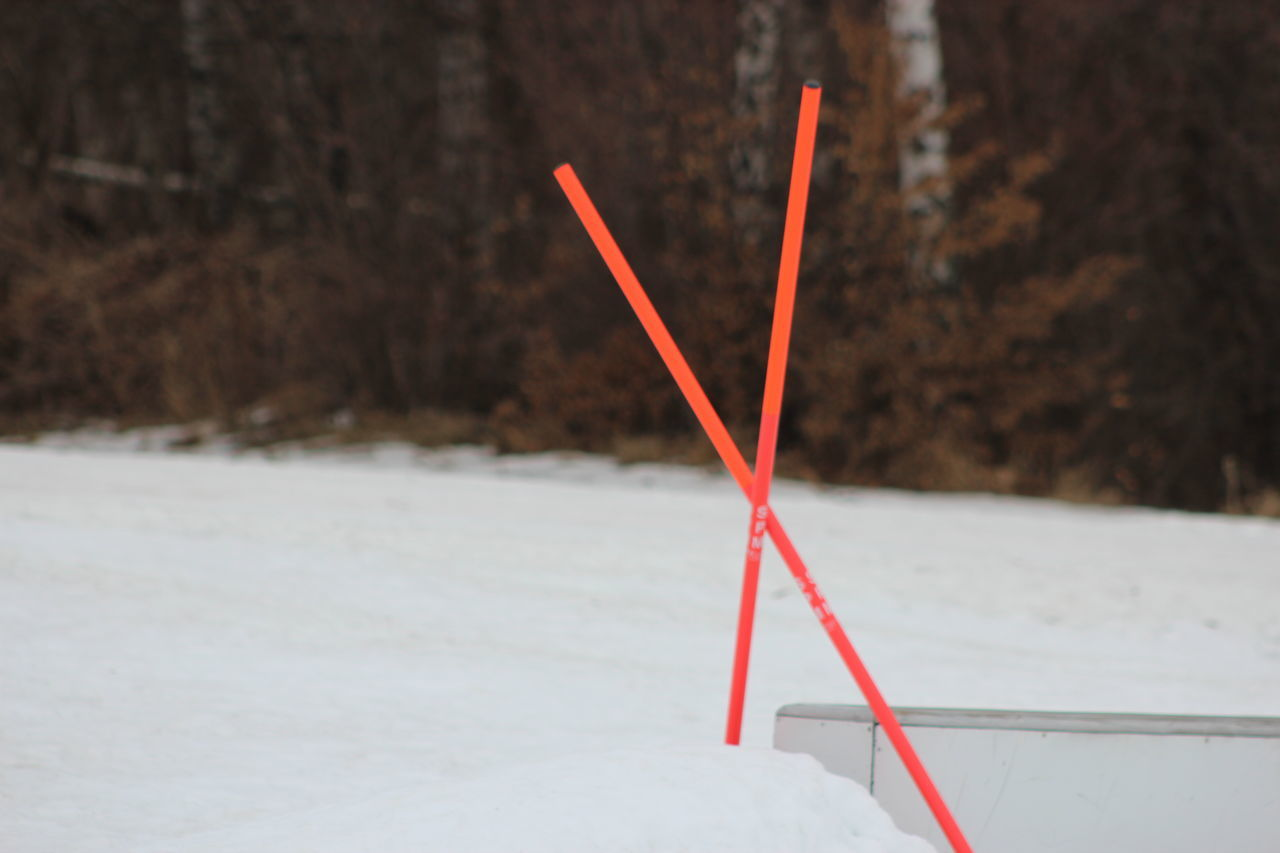 red, winter, no people, focus on foreground, white color, close-up, snow, cold temperature, outdoors, day, drinking straw, nature