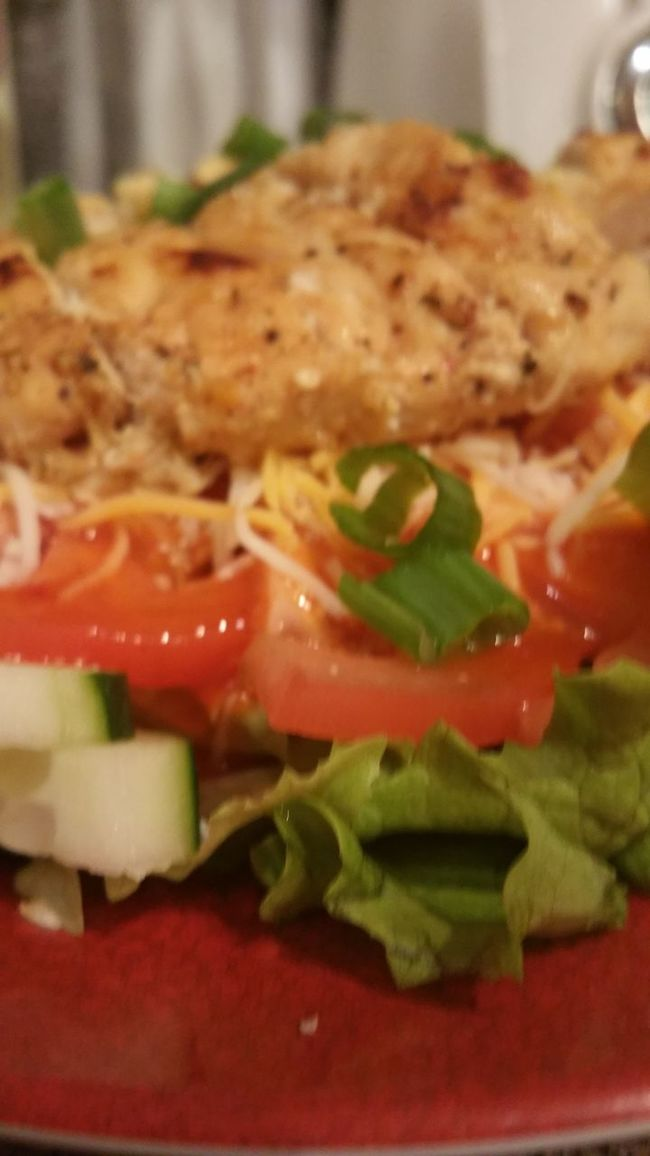 Mom, you should be on iron chef - my10 year old son Tomatoes Cucumbers Epic Salad Salad Chicken Salad Time Dinnertime Dinner Time After Workout Food Afterworkoutmeal Shredded Cheese Sliced Green Onion