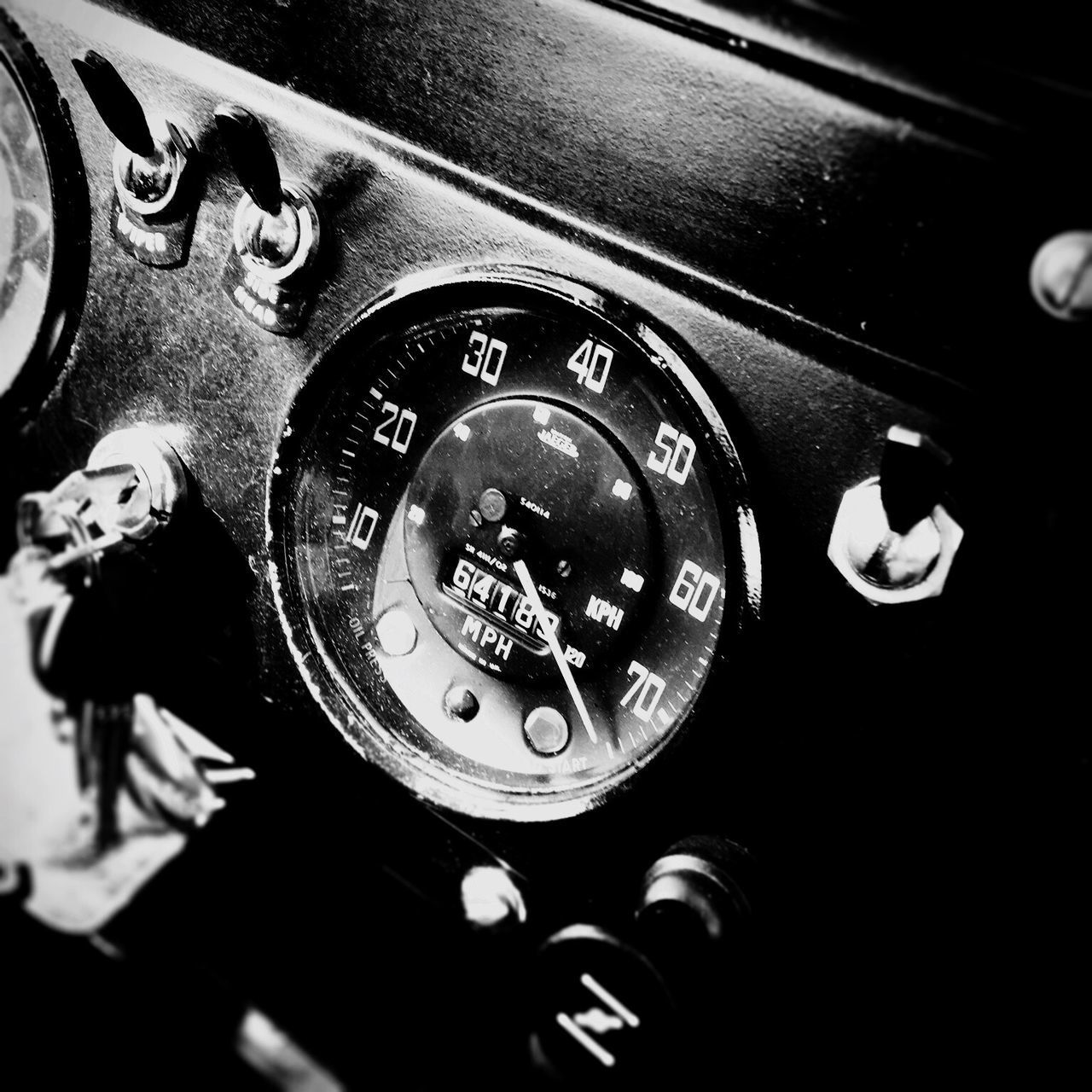 Max Speed. Old-fashioned Car Interior Car Dashboard Close-up Retro Styled Speedometer Blackandwhite Photography Blackandwhite Monochrome Monochrome Photography Max Speed Crazy Speed Max 75 Miles British Car Classic Car Land Rover LAND ROVER SERIES 2 Land Rover Series