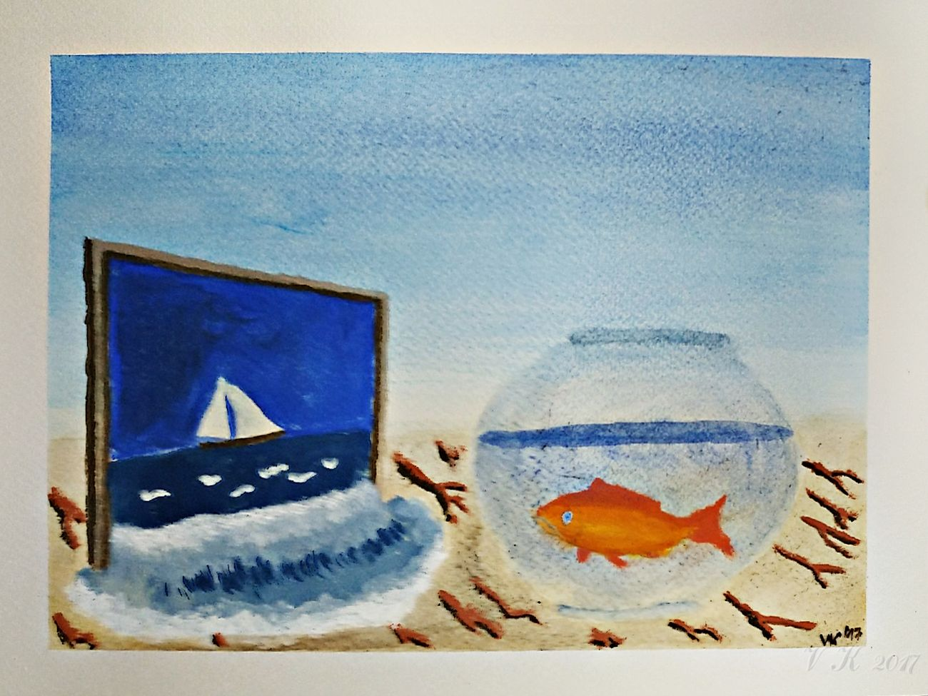 Homesickness - my new gouache painting Traditional Art My Artwork My Artwork 🌹 My Art <3 Gouache Paint Fish Picture Frame