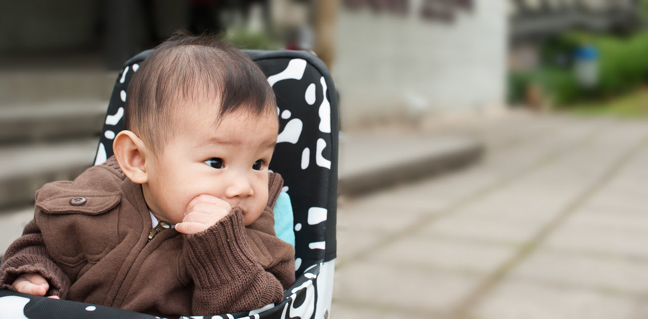 Asian baby girl Babies Only Baby Baby Stroller Babyhood Casual Clothing Childhood Close-up Cute Day Focus On Foreground Front View Headshot Innocence Lifestyles Looking At Camera One Person Outdoors Pacifier People Portrait Real People Toddler