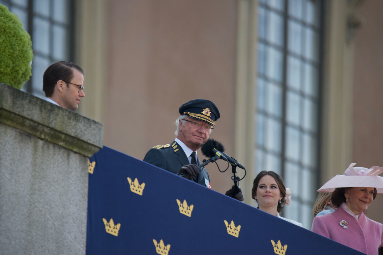 April 30, 2016 Day H.K.H. Prince Daniel H.K.H. Princess Sofia H.M. King Carl XVI Gustaf H.M. Queen Silvia King Carl XVI Gustaf 70 Years Outdoors Real People Royal Palace Standing Stockholm Sweden