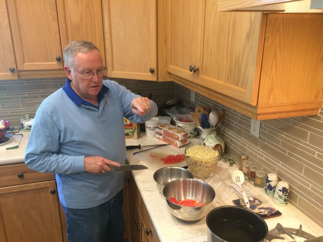 Home canning corn salsa, California Adult Adults Only Canning Corn Day Domestic Kitchen Domestic Room Food Food And Drink Freshness Homemade Indoors  Kitchen Men One Man Only One Person Only Men People Preparation  Preperation Real People Salsa Senior Adult Stove