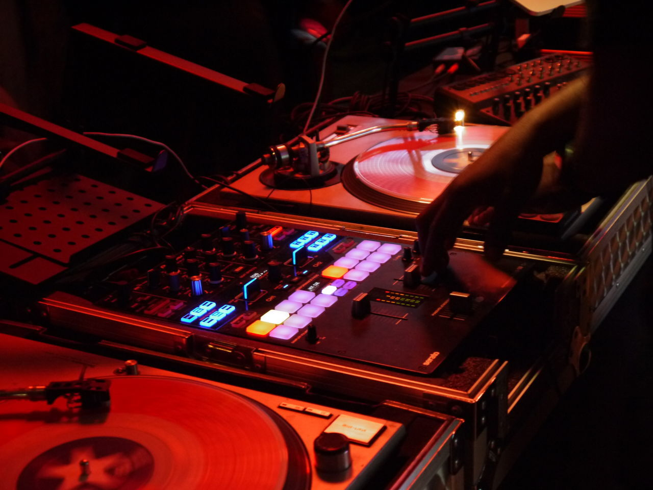 dj ease spinning Music Dj Nightclub Club Dj Control Nightlife Red Turntable Listening Technology Disco Dancing Sound Mixer Record Indoors  Mixing Performance Control Panel People Illuminated One Person djease Rochesterny  Rochester Roctownlive Djalykhan Butapub