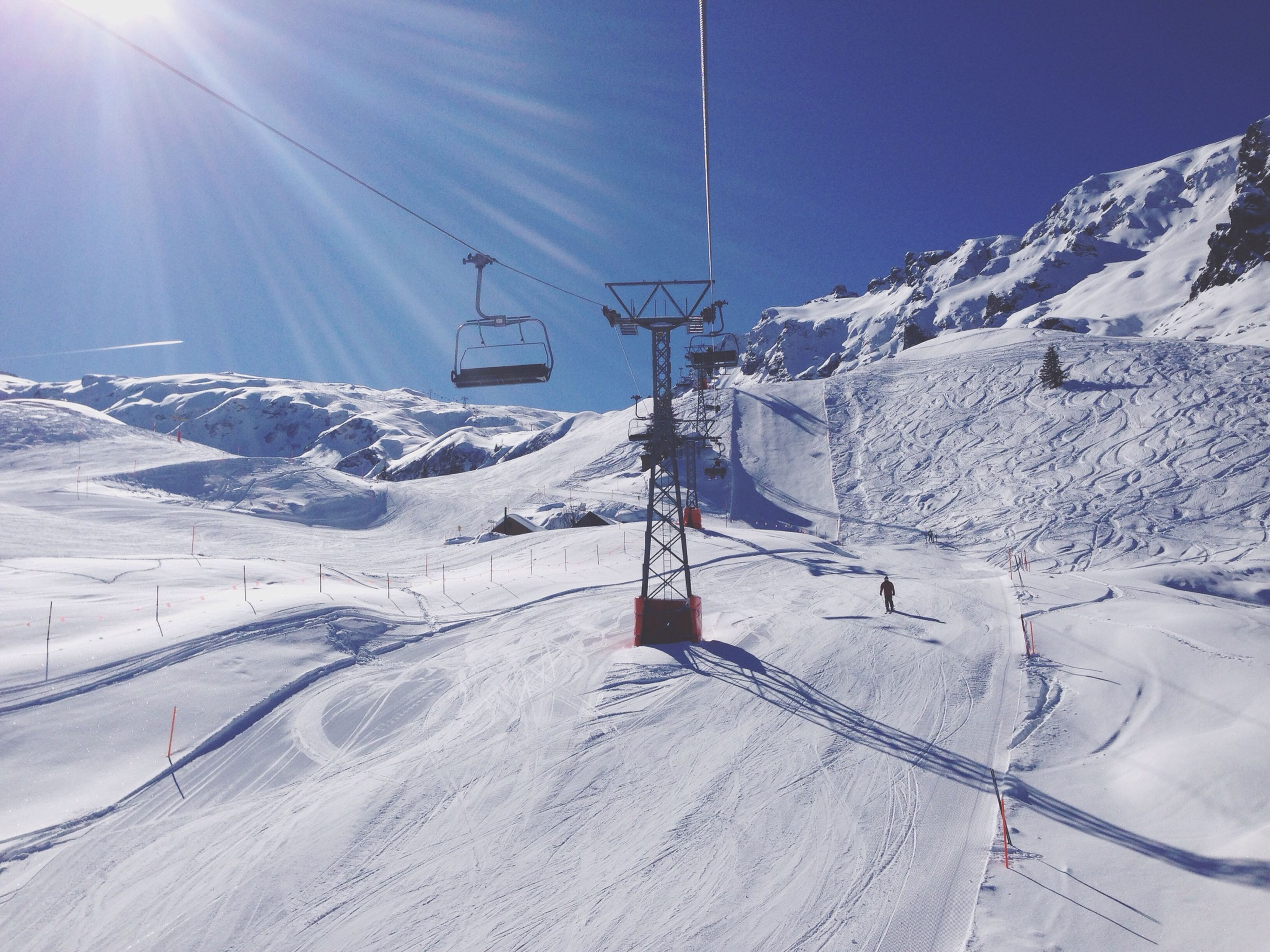 snow, cold temperature, winter, season, mountain, weather, landscape, tranquility, tranquil scene, covering, snowcapped mountain, sunlight, beauty in nature, scenics, sun, nature, white color, mountain range, ski lift, snow covered