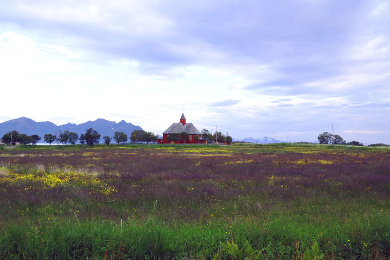 Architecture Architecture Beauty In Nature Built Structure Church Cloud Cloud - Sky Cloudy Day Field Grass Green Color Growth Landscape Lighthouse Mountain Nature Norwegian Open Landscape Plant Rural Scene Scenics Sky Tranquil Scene Tranquility