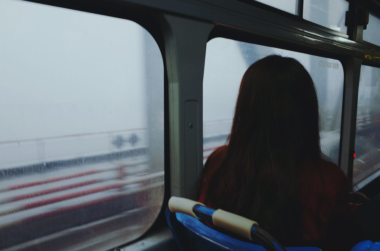 Rainy Days Rain Mood Bus Girl Sad & Lonely Behind Foggy Morning Raining Blur Day Vietnamese Young Long Hair Frame Motion In Bus