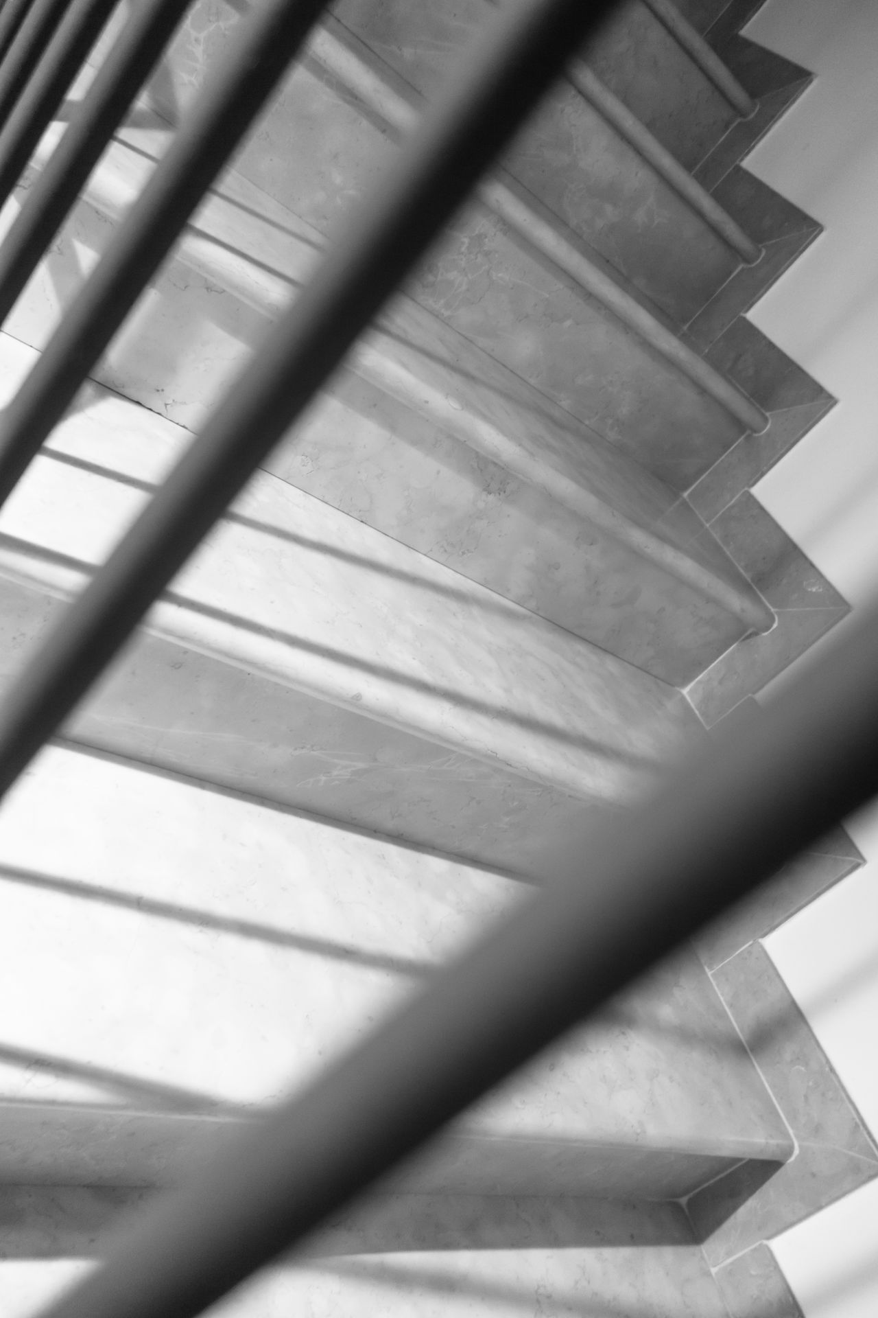 Architecture Black And White Built Structure Close-up Day Indoors  Light Light And Shadow Low Angle View No People Railing Railing Stair Staircase Stairs Stairs & Shadows Steps Steps And Staircases