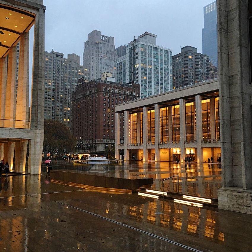 Lincoln Center Rain David Geffen Hall Metropolitan Opera House  Fountain Timewarnercenter