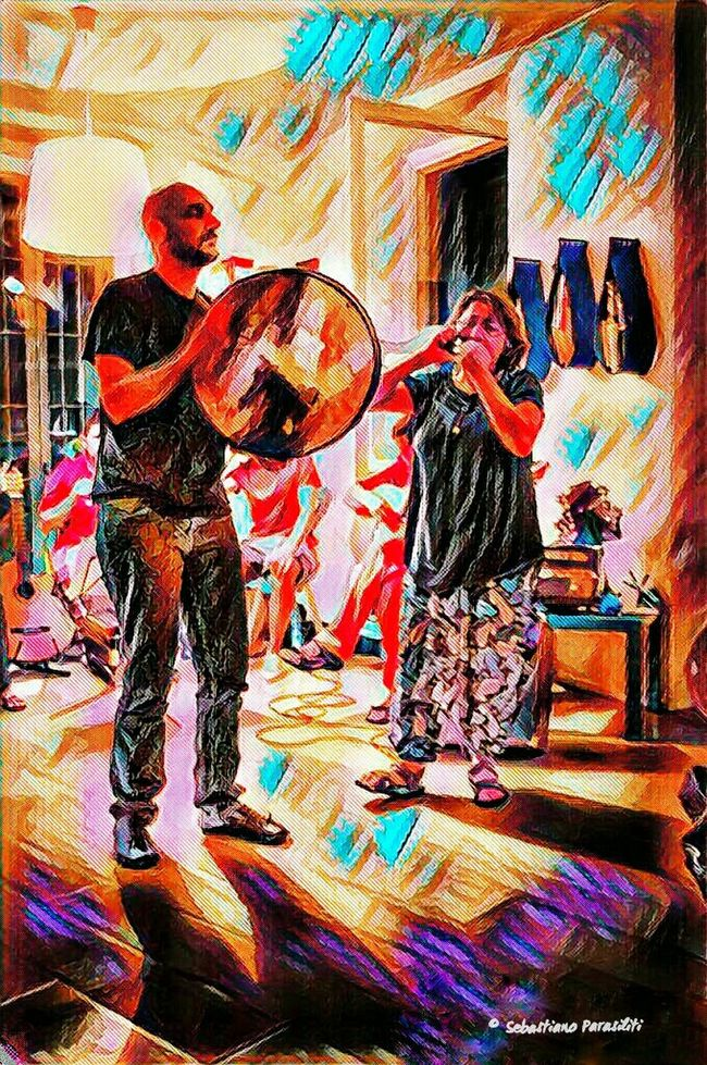 Art And Craft Creativity Human Representation Multi Colored Musicians Folk Pizzica Full Frame Day Photoart