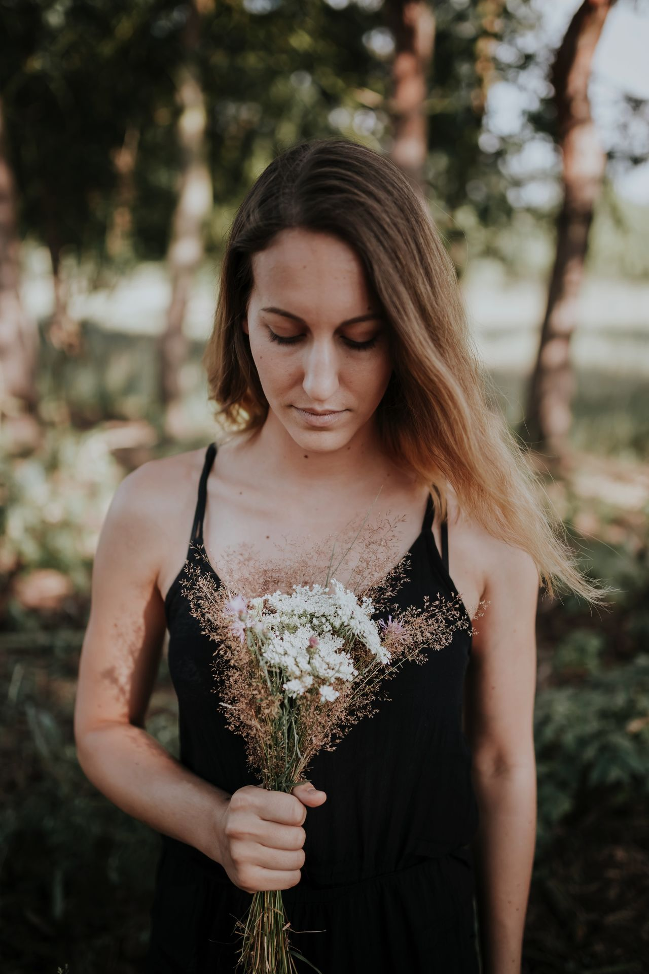 Adult Be My Valentine Beautiful People Beautiful Woman Beauty Date Day Flower Flowers Front View Holding Long Hair Looking Down Love Nature One Person One Woman Only Outdoors People Portrait Present Scented Tree Valentine's Day  Young Adult