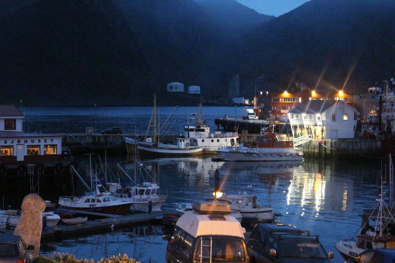 the harbor. Honningsvag Norway Port Harbor Illuminated Ships Cars Water Outdoors No People Cityscape Mountain Summernight