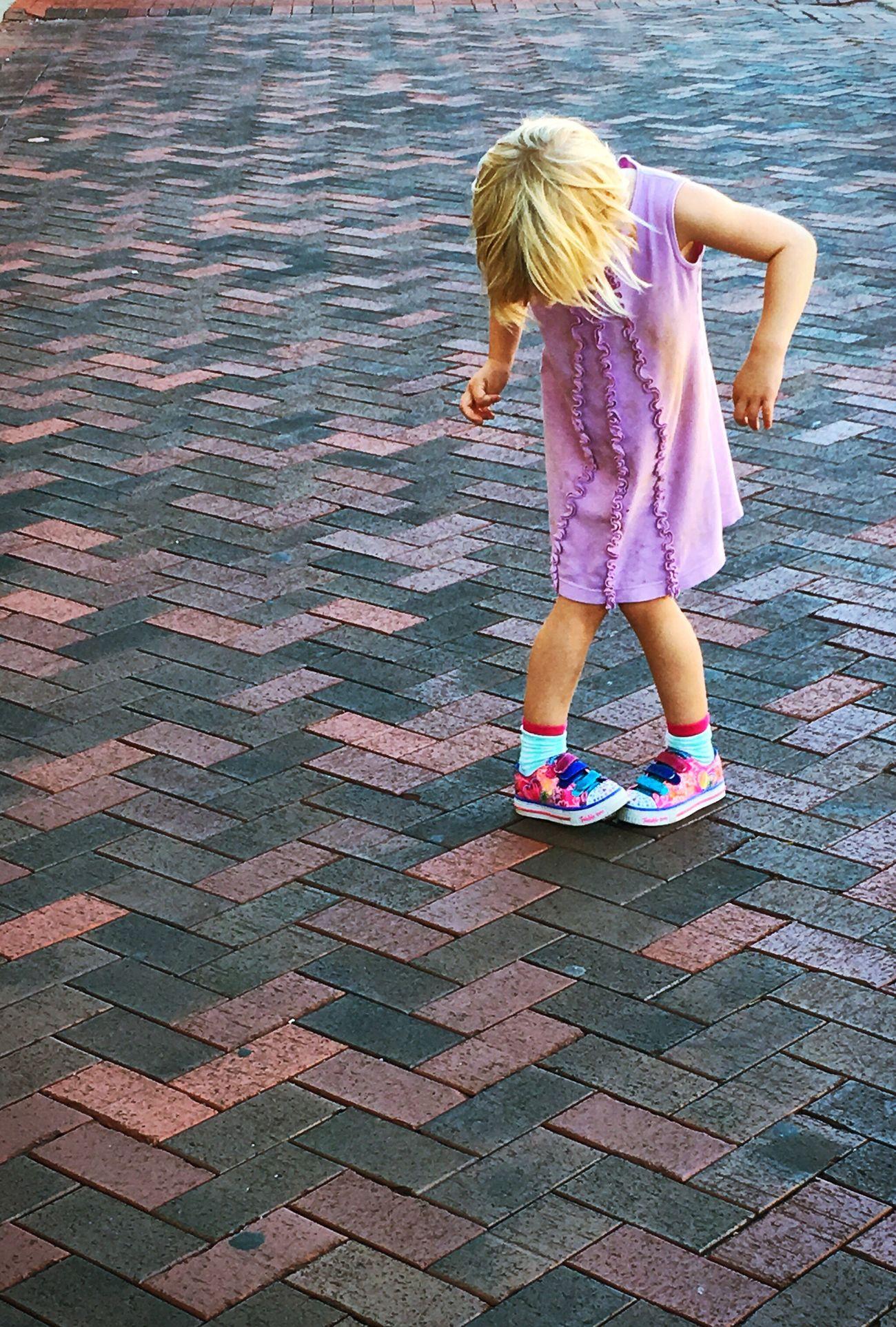 Capture. IPhoneography Picoftheday Child Walk Learn Challenge Wonder Pattern Sidewalk Bricks Simplicity Create Think Childhood Girl Innocence
