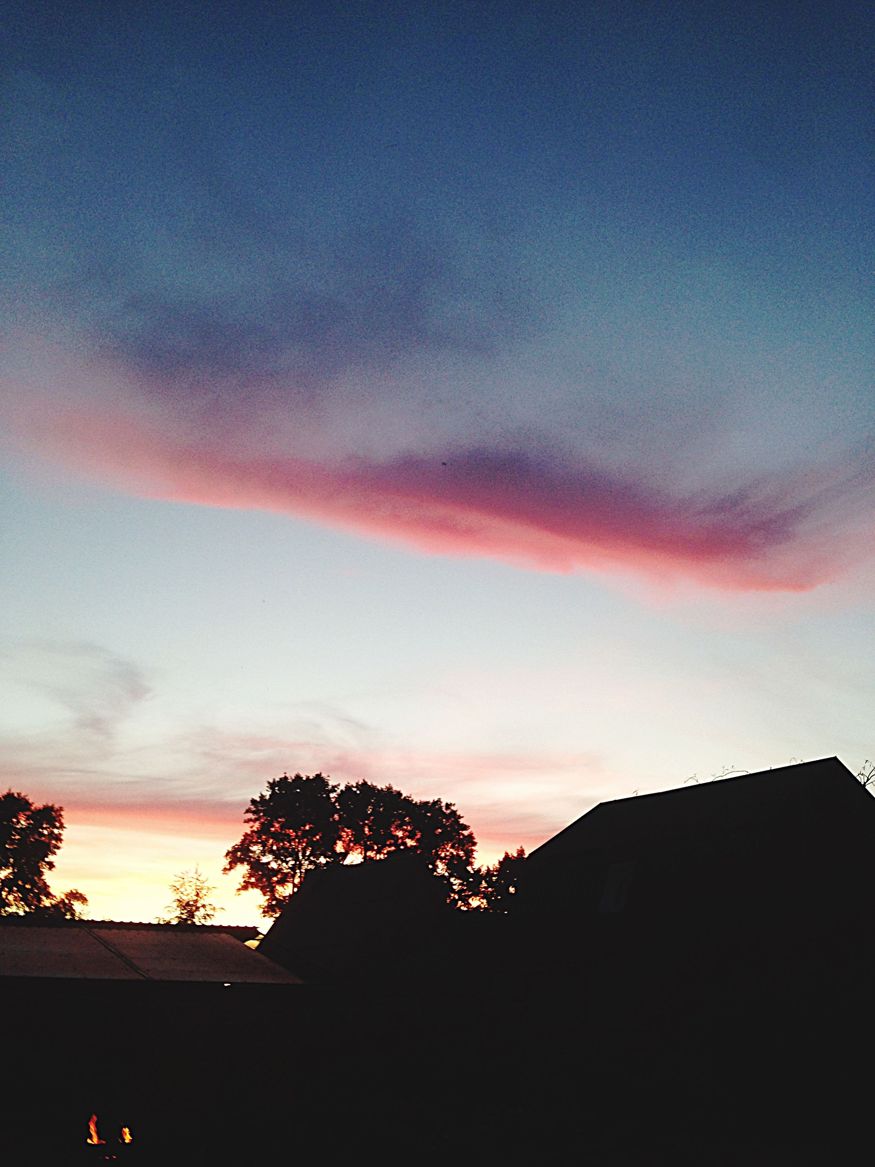 silhouette, sunset, sky, tree, low angle view, building exterior, built structure, beauty in nature, house, architecture, cloud - sky, scenics, nature, dusk, orange color, high section, tranquility, cloud, copy space, tranquil scene