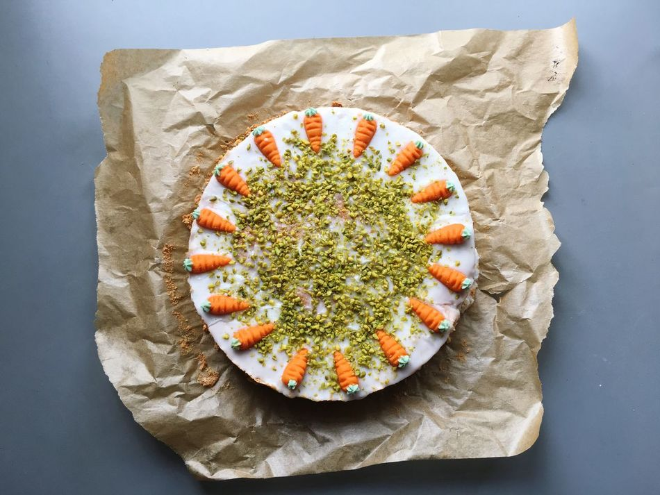 Happy carrot cake! Easter Eater Food And Drink Directly Above Food Freshness High Angle View Ready-to-eat Plate No People Studio Shot Indoors  Serving Size Healthy Eating Close-up Sweet Food