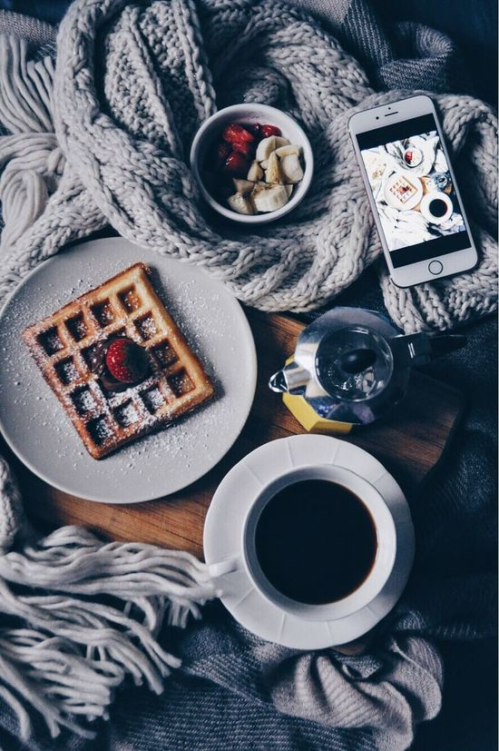 Waffle time Waffle Breakfast Coffee Best  Food Lover Ihone Blanket Strawberry Life Decor Home Bedtime Coffee - Drink Freshness Day Happy Ready-to-eat