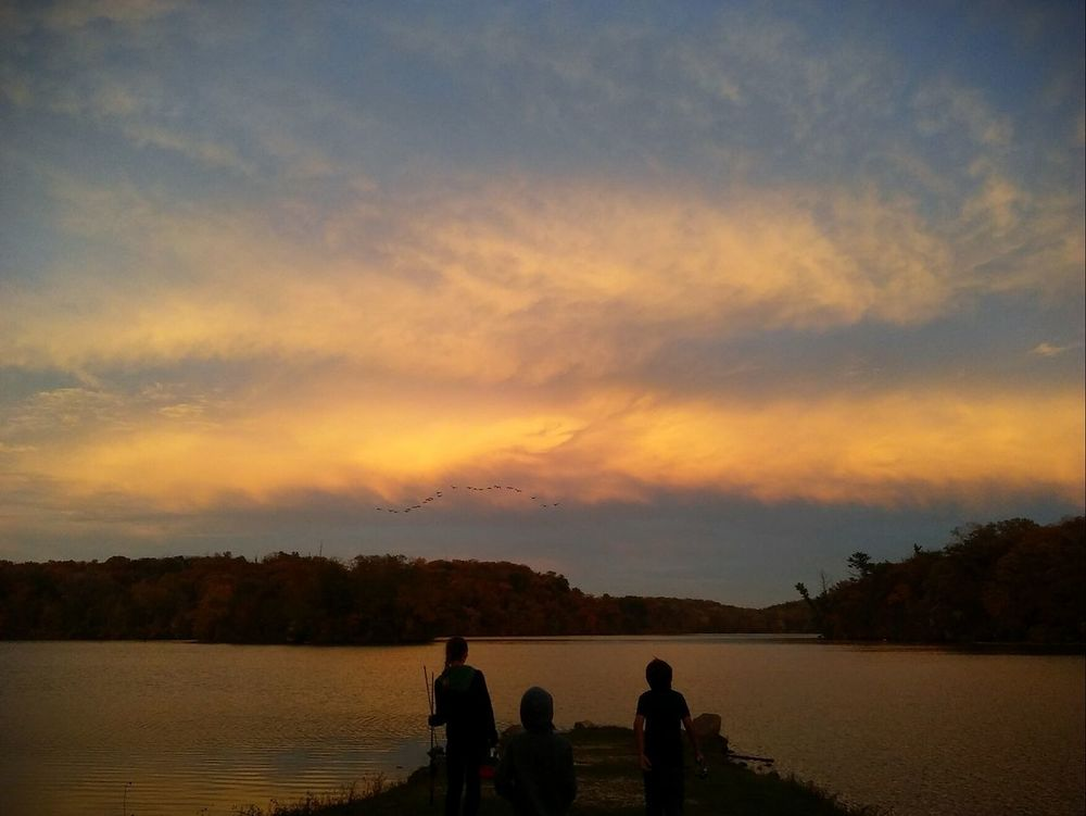 Fishin with friends!!💚 Silhouette Sunset Lake Reflection Water Sky Scenics Beauty In Nature Outdoors Nature At The Lake Pretty♡ Check This Out Picturejunkie Fishing Perspectives On Nature
