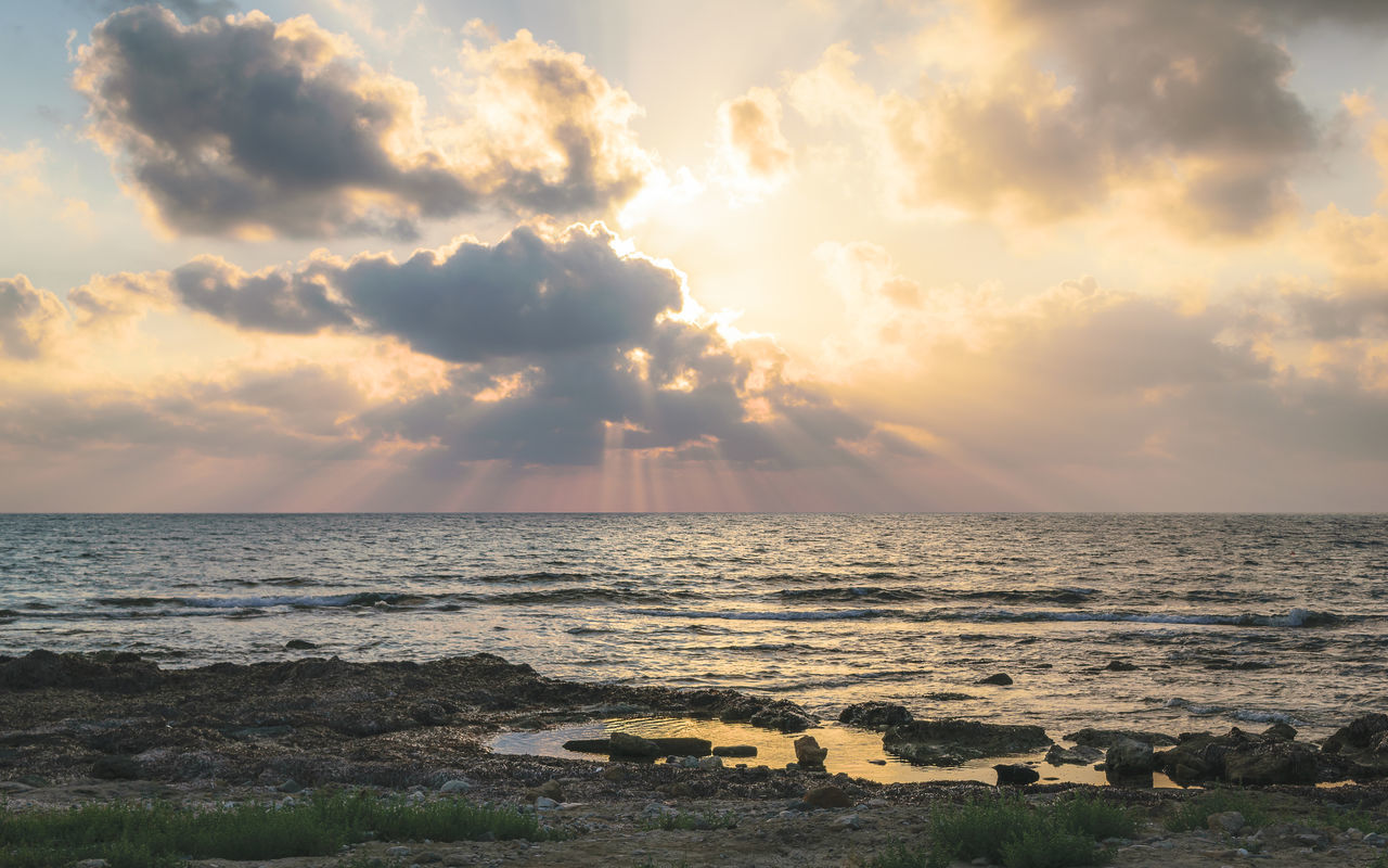 Awe Beach Beauty In Nature Cloud - Sky Day Horizon Over Water Landscape Nature No People Outdoors Rocky Scenics Sea Sky Summer Sun Sunbeam Sunset Tranquil Scene Tranquility Vacations Water Wilderness Reflection_collection