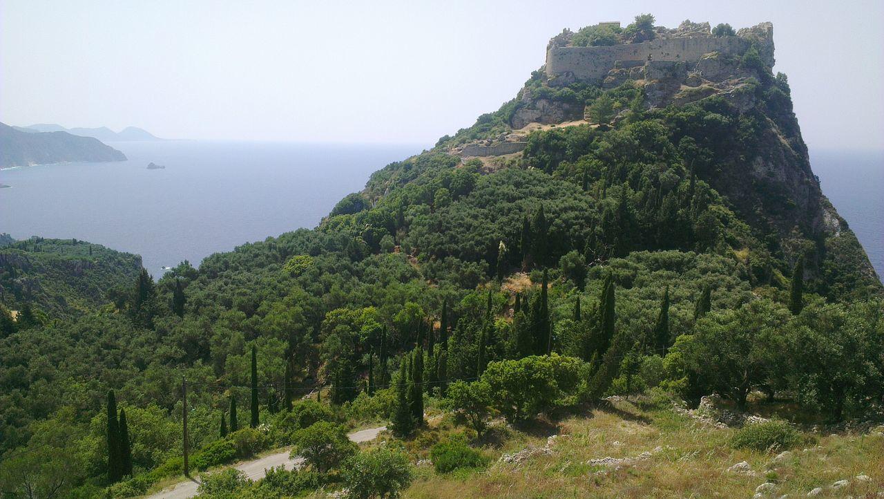 Angelokastro Mountain Burg Ruine Castle Berg Sea Water Korfu Corfu Kerkyra Greece Landscape Ruin
