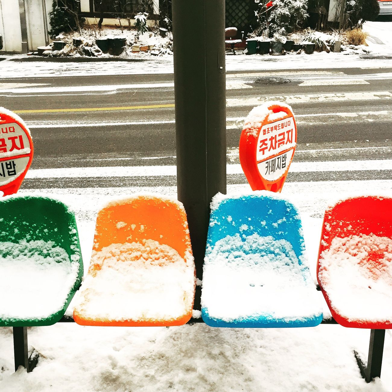 Winter_collection Snowing Cold Temperature Snowing Day Colorful IPhoneography Iphonephotography Chairs Vivid Colours  Do not sit down