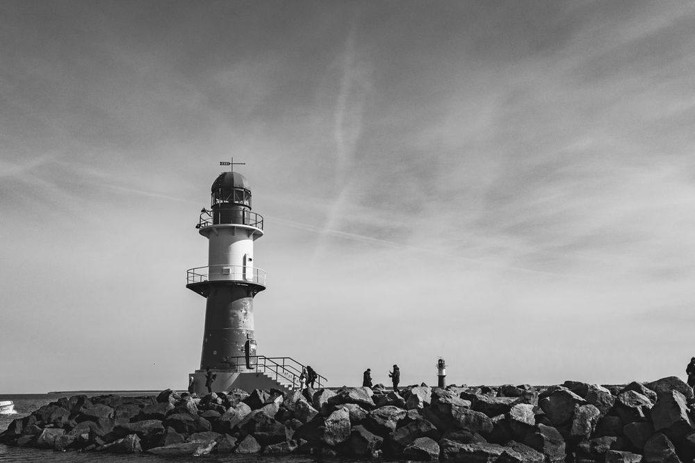 Baltic Sea Balticsea Beacon Built Structure Cloud - Sky Europe Germany Hafen Harbour Leuchtfeuer Leuchtturm Lighthouse Low Angle View Outdoors Rostock Schleswig-Holstein Tranquility Travel Photography Warnemünde