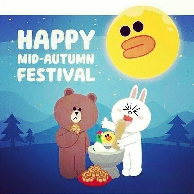 中秋节快乐!Happymidautumnfestival Mooncake LINE