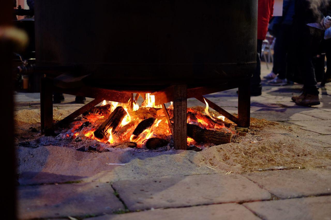 Huge cauldron of soup at the Christmas market Burning Night Bonfire Food Soup Cauldron Christmas Market