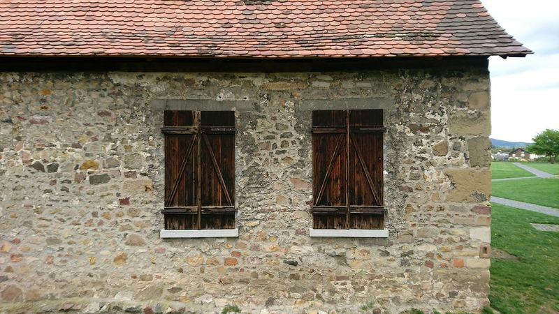 old barn ... Lorsch Windowshutters Wooden Shutters Stonebuilding Ancient Architecture Rooftiles Full Frame Built Structure Building Exterior