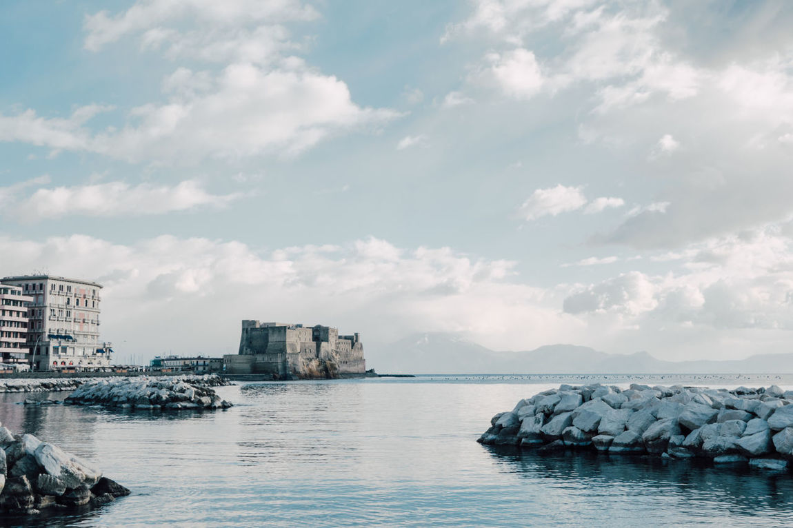 View of the bay of Naples from Via Caracciolo with castle dell'ovo Architecture Bay Of Bengal Building Exterior Built Structure Castle City Cloud - Sky Day Dell'ovo Naples Napoli Nature No People Outdoors Sea Sky Water Waterfront