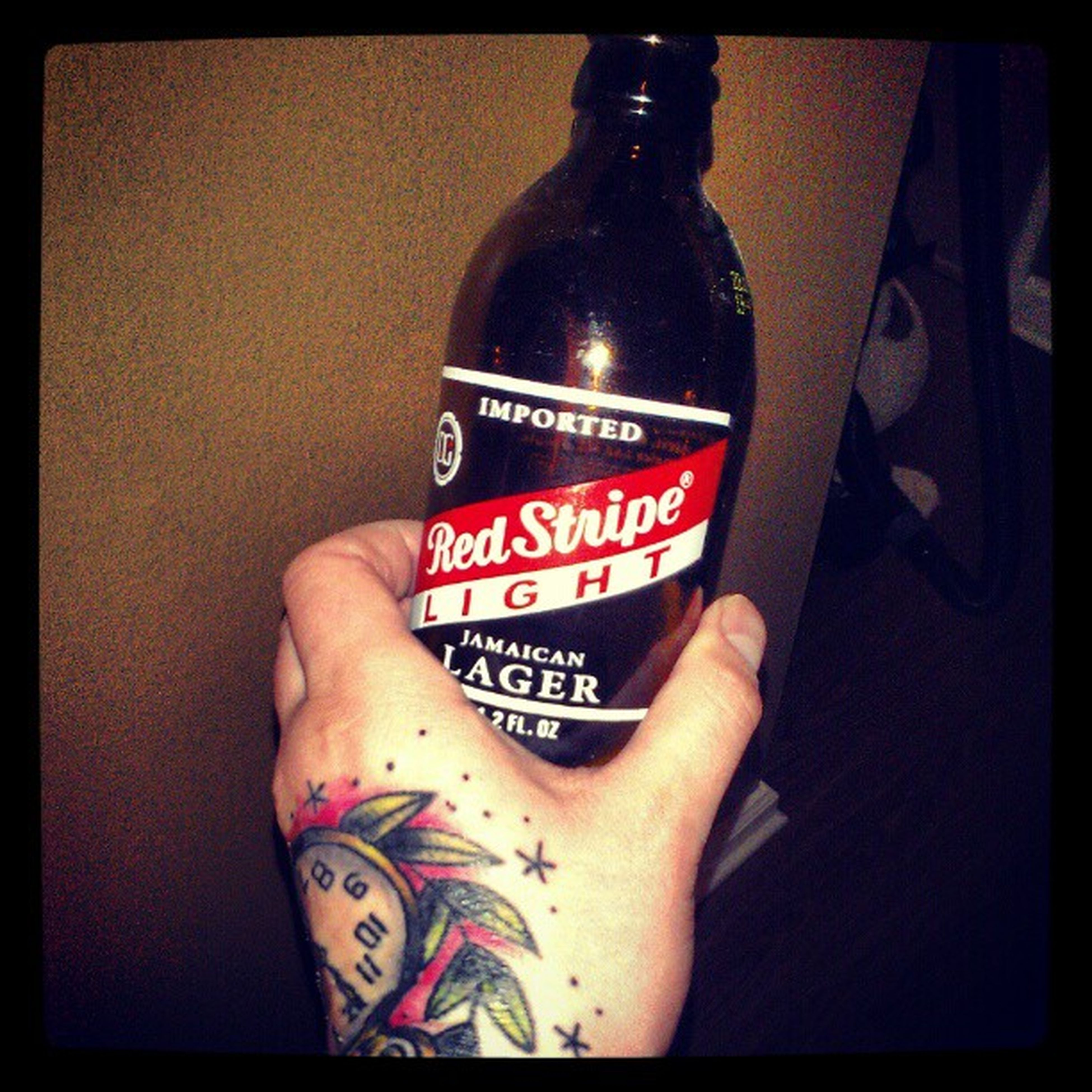 Beer Redstripelight Handtat tattoo $3 for 12 of these.. can't beat that