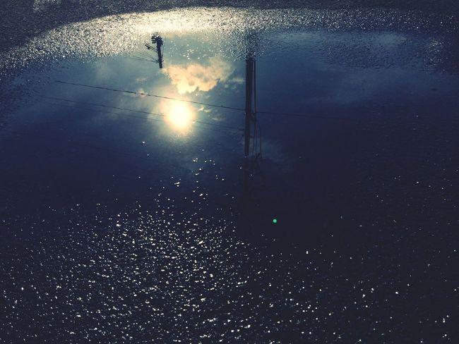 Water Glass Art Blue Sky Sun