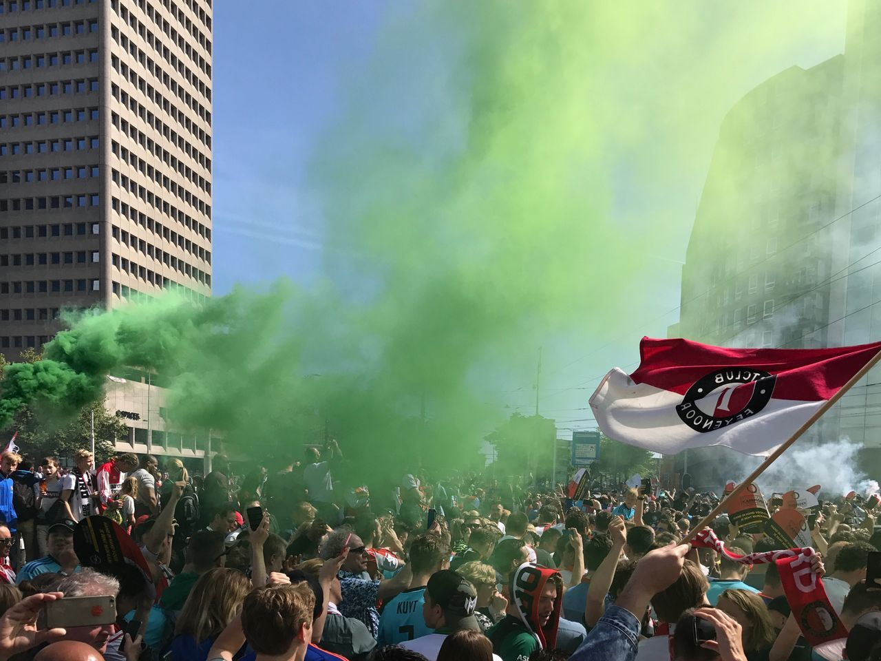 Large Group Of People Crowd Men Real People Women Building Exterior Architecture Enjoyment Togetherness Flag Outdoors City Built Structure Music Day People Sky Adult Feyenoord Rotterdam Champoins Rotterdam Hofplein