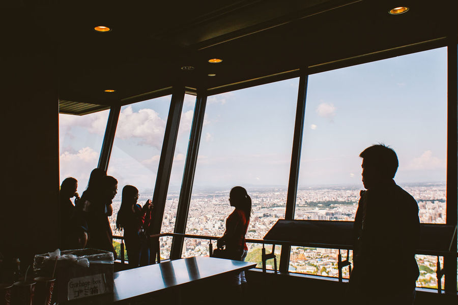 Observation deck look to the city Holiday The Tourist Observation Silhouette Spring Togetherness Vacation View Window