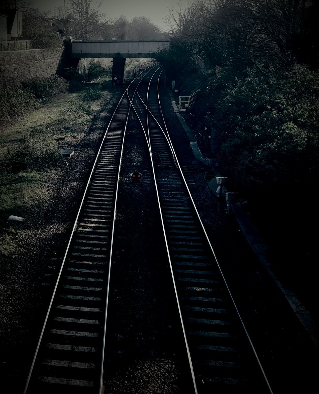 railroad track, transportation, rail transportation, no people, high angle view, the way forward, day, outdoors