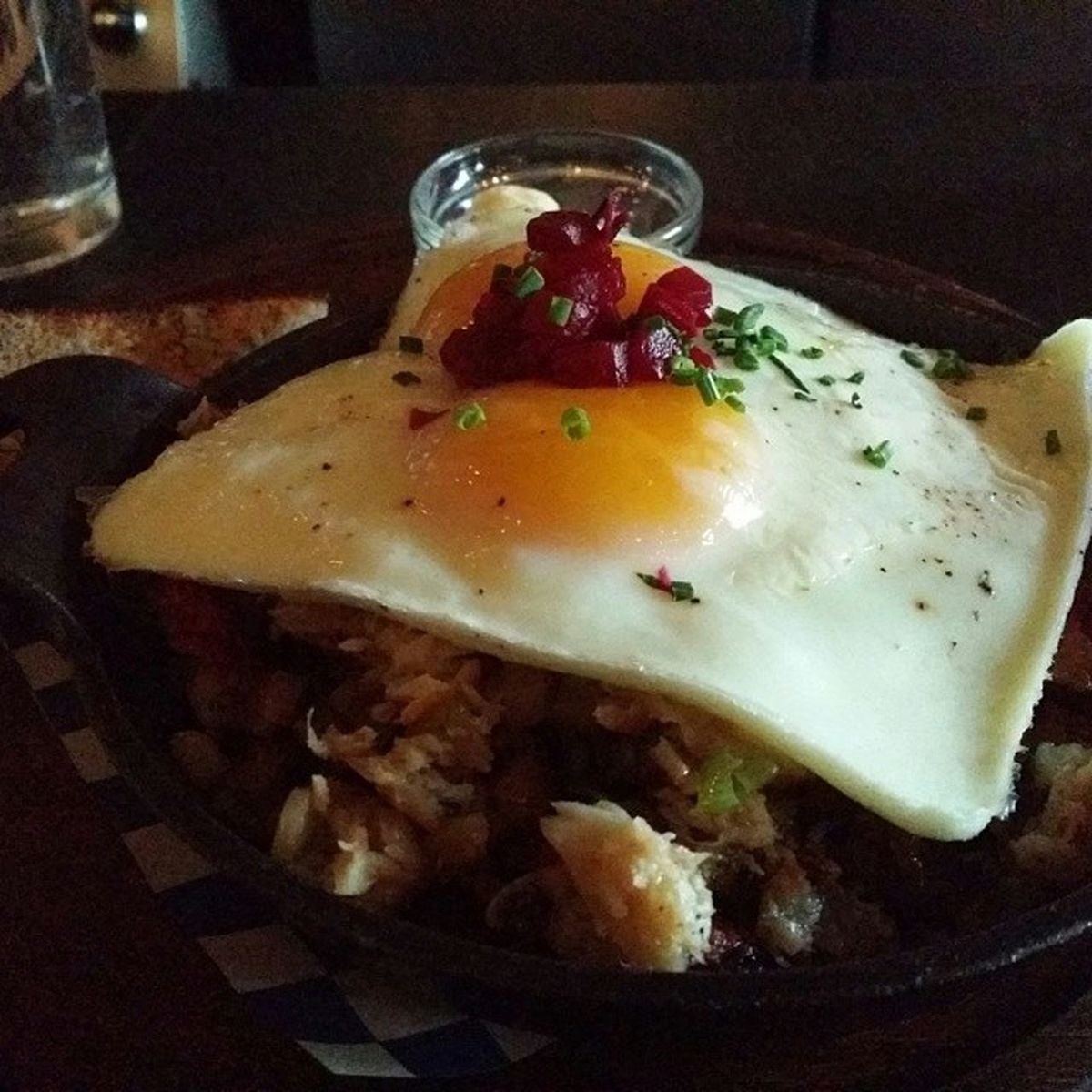 Best breakfast ever; baked eggs on a bed of smoked trout hash. Swedish Portland