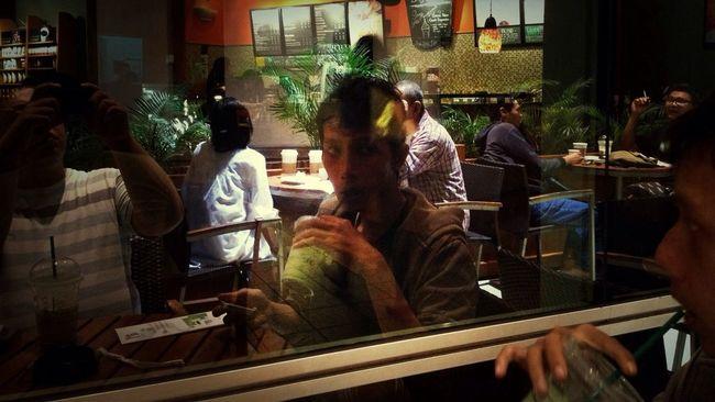 Cafe Latte Green Tea Reflection Coffee Break
