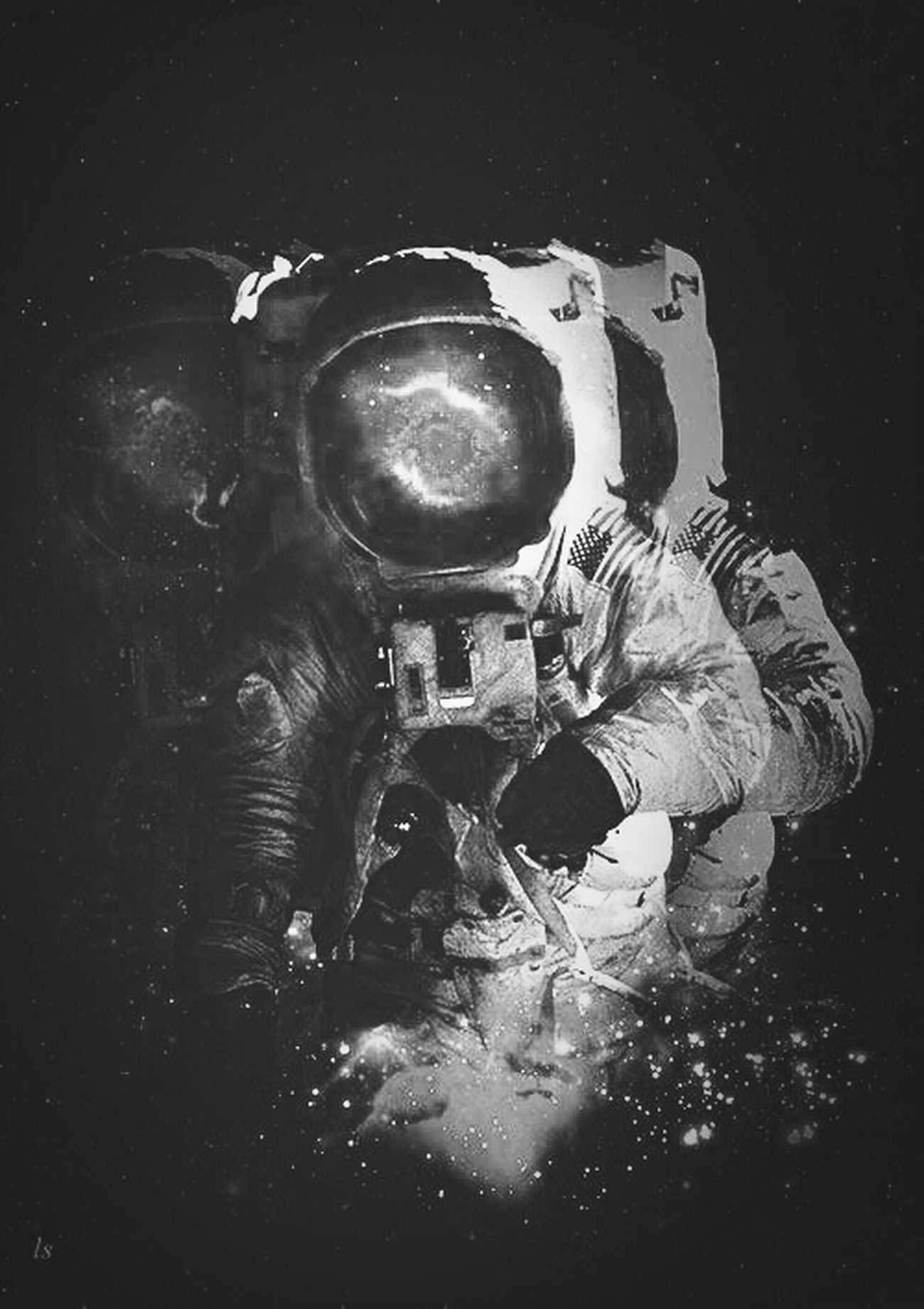 "My mind and an infinite endless"". Astronaut Infinité Galaxia Black & White"