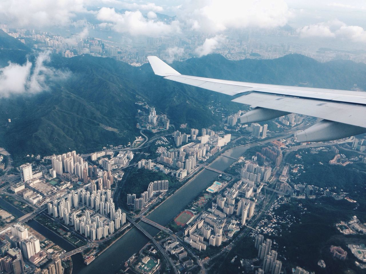 Beautiful stock photos of hong kong, Aerial View, Aeroplane, Airplane Wing, Architecture
