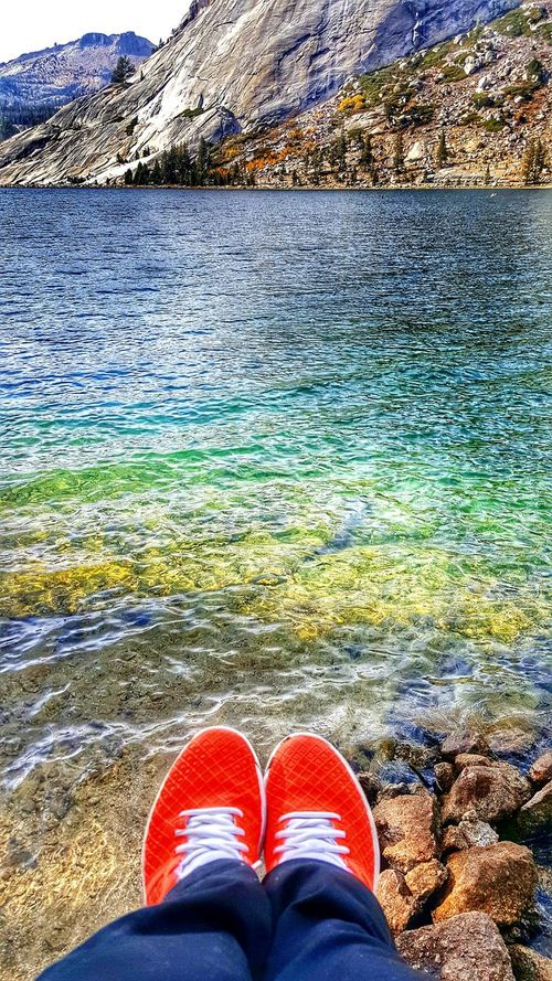 Low Section Lake Personal Perspective Water Relaxation Shoe Lakeshore Tranquility Mountain Nature Outdoors Solitude Yosemite National Park Tenaya Lake Vibrant Colors Power In Nature From My Point Of View Clear Waters