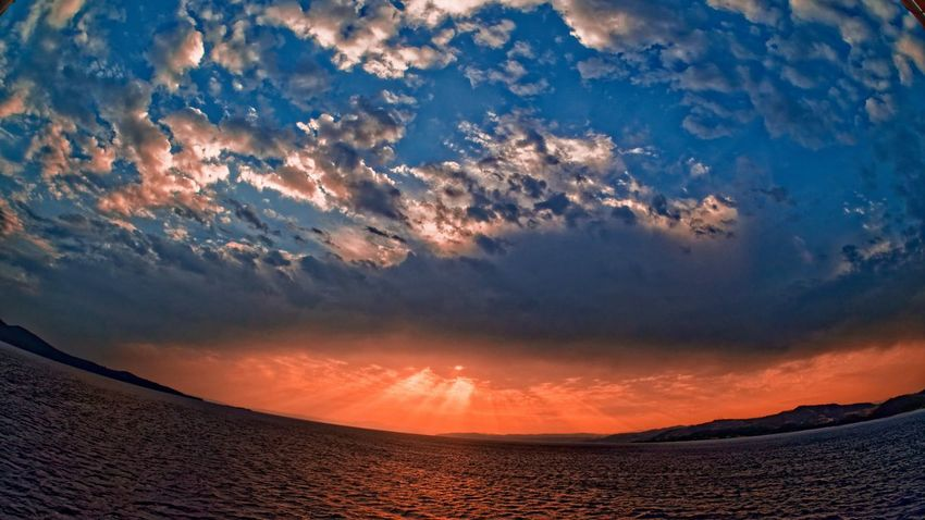Beach Beauty In Nature Cloud - Sky Day Dramatic Sky Fish Eye Lens Horizon Over Water Landscape Nature No People Outdoors Scenics Sea Sky Sunset Tranquil Scene Tranquility Water