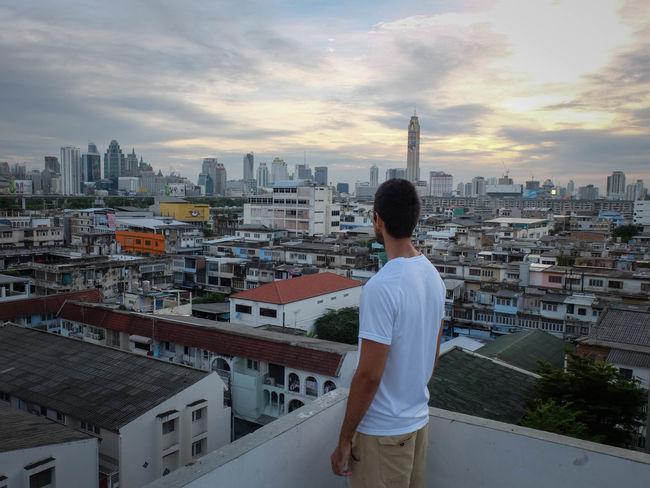 Bangkok Building Exterior Cityscape Rooftop View  Skyline Sunset Travel Urban Skyline