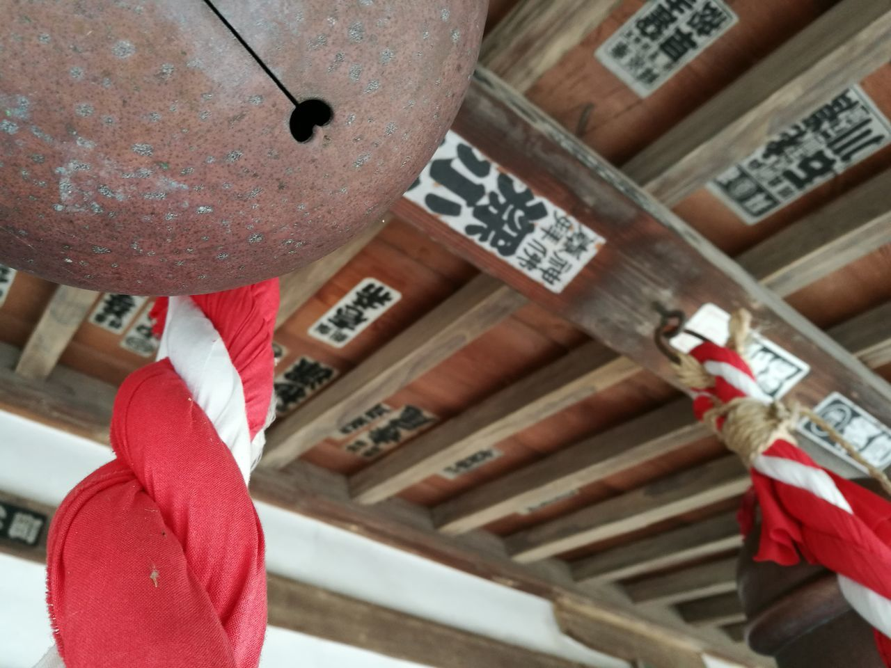 Hanging Tradition Celebration No People Cultures Holiday - Event Low Angle View Day Outdoors Close-up Architecture Wabi-sabi Japan Red Bell Temple - Building Heart
