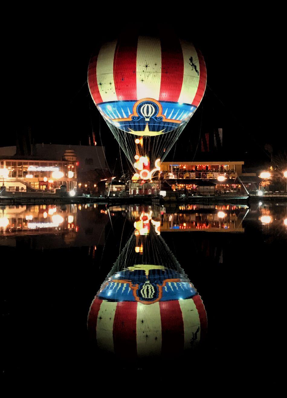 Air Ballloon At Night Balloon Disney Disneyland Disneyland Paris Disneyland Resort Paris Hot Air Balloon Reflection