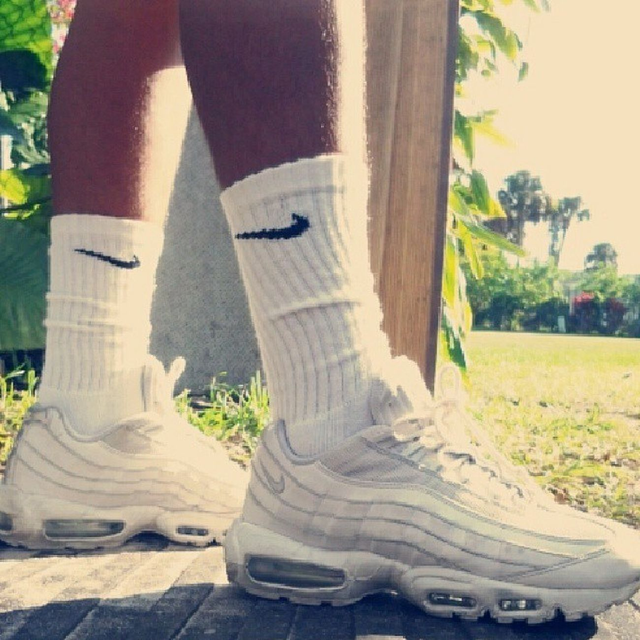My other bitches ♡ Airmaxes95 95s White Nikesocks shoes chillday