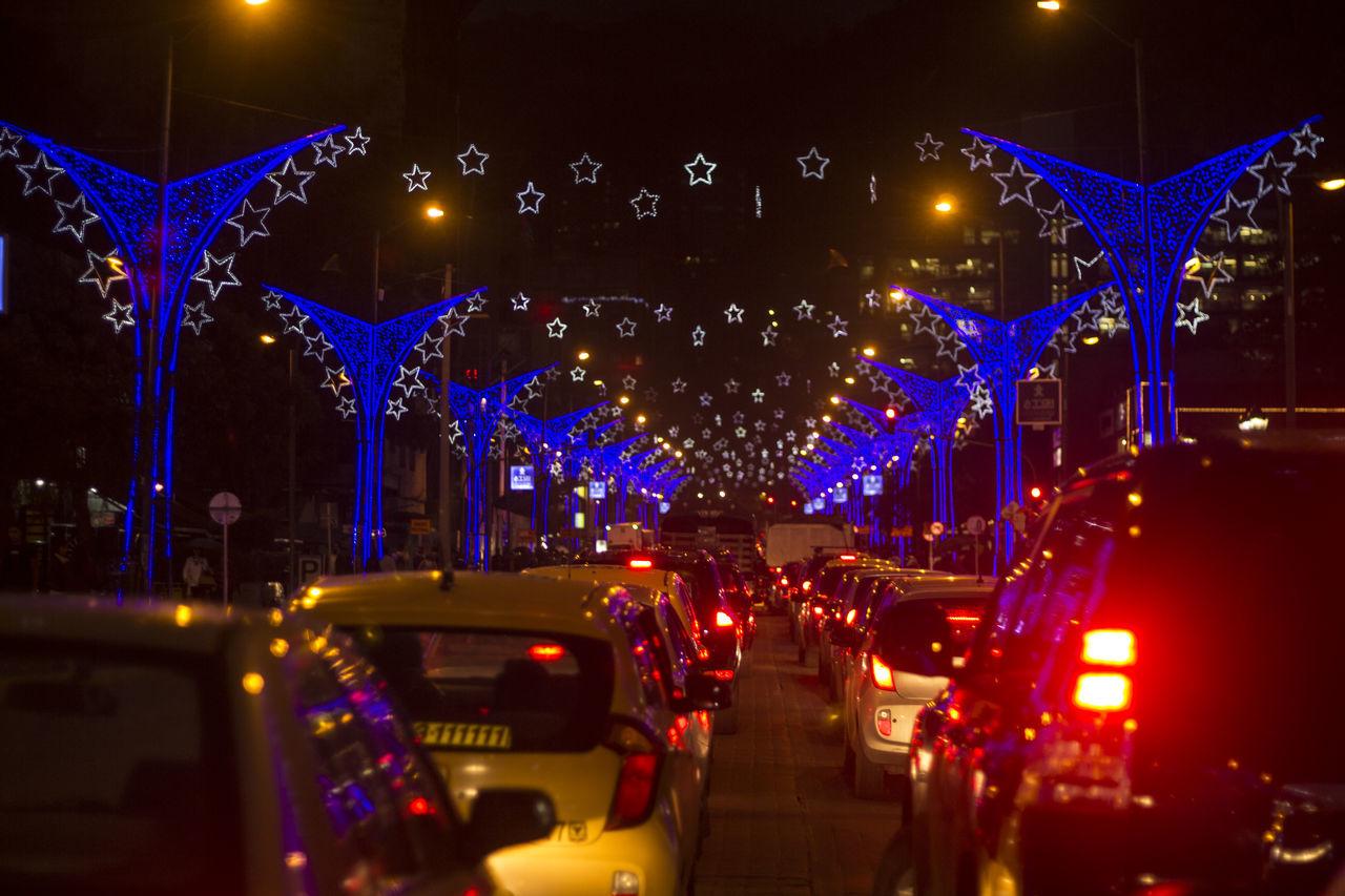illuminated, night, lighting equipment, celebration, christmas, christmas decoration, car, no people, outdoors, architecture, city, sky