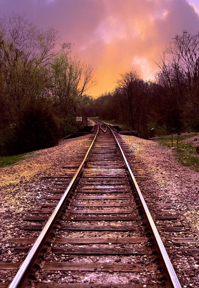 Rail Road Tracks Hello World Taking Photos Springtime Pink And Orange Pink And Orange Sky Clouds And Sky Looking Ahead 43 Golden Moments Feel The Journey Colour Of Life