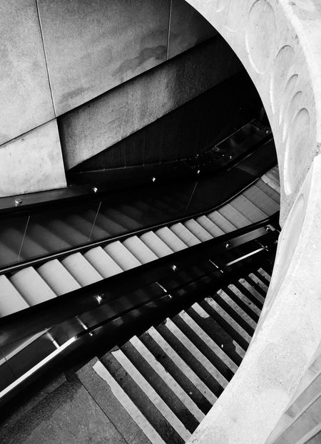Entrance Looking Down Black And White Monochrome Metro Station Built Structure Steps And Staircases Staircase Architecture Steps Low Angle View Railing No People Stairs Modern Day Hand Rail The Graphic City Mobility In Mega Cities Mobility In Mega Cities
