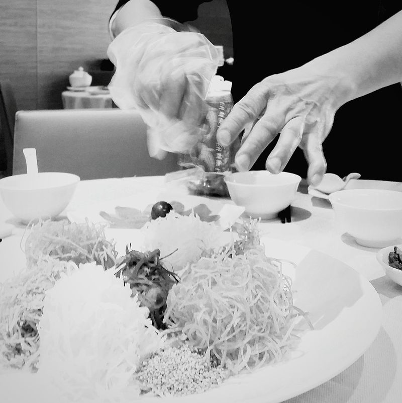 Lo Hei Foodphotography Chinese Culture Chinese New Year Singapore Hands Food Chinese Food Bnwsingapore Bnwshotz Bnw_life Singapore
