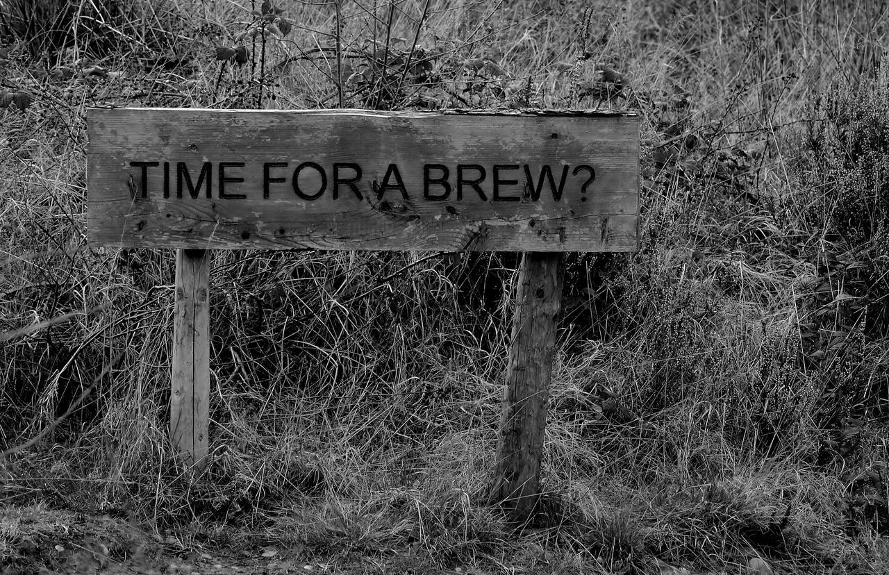 Black And White Blackandwhite Brew Check This Out Close-up Communication Day Grass Hello World My Photography Nikon Nikon D3200 No People Outdoors Sign Signboard Taking Photos Tea Anyone Text Western Script